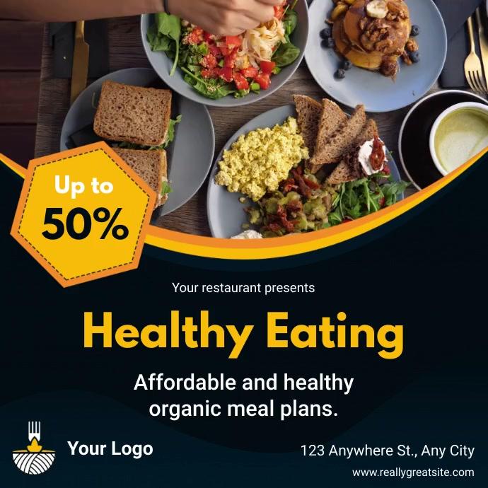 Healthy Food Menu Discount Instgram Video Tem โพสต์บน Instagram template