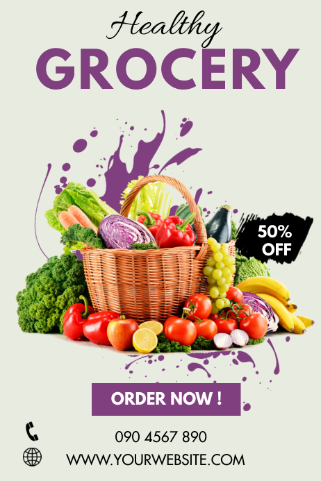 HEALTHY GROCERIES DELIVERY Poster template