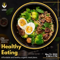 Healthy Organic Meals Restaurant Instagram Po template