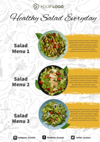 Healthy Salad Food Menu A4 template
