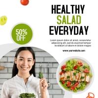 healthy salad social media post design template