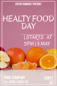 Healty food day flyer template