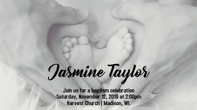 Heart Baptism Invitation - Black and White