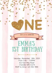 Heart Confetti 1st birthday party invitation A6 template