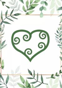 Heart green design A2 template