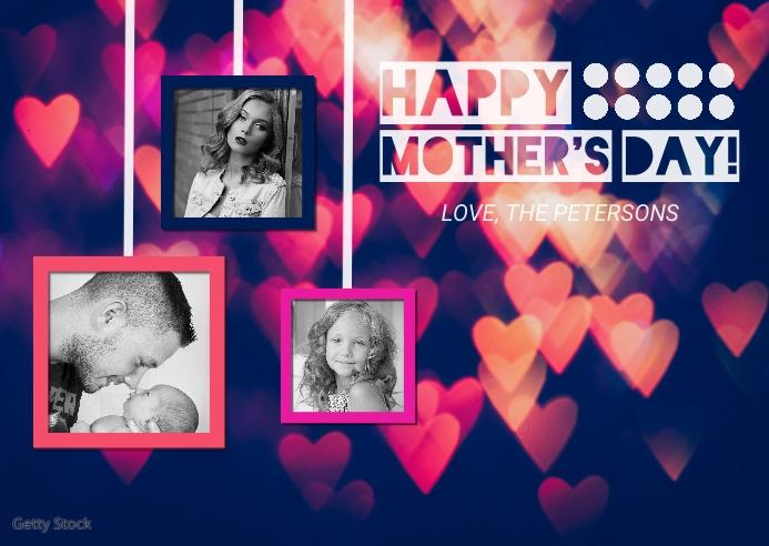 Heart Mother's Day Photo Postcard Postkort template