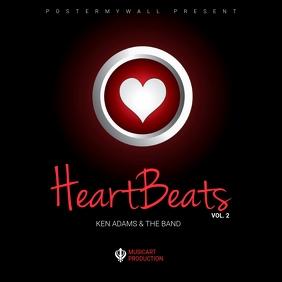 Heart romantic album cover template