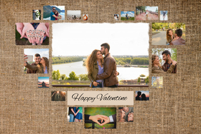 Heart shaped Valentine Collage Poster Template