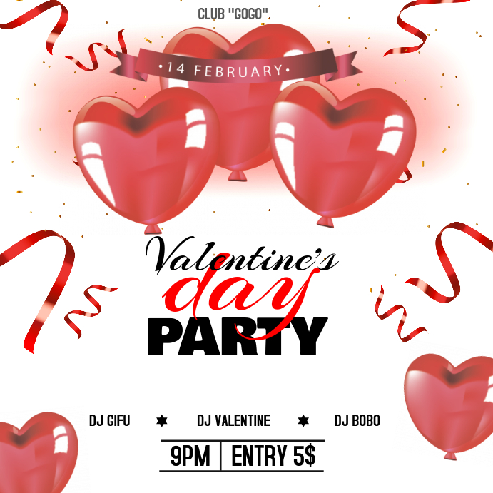 Heart Shaped Valentines Party Instagram Post Template