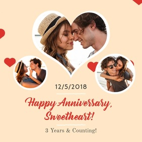 Heart Themed Romantic Anniversary Square Vide template