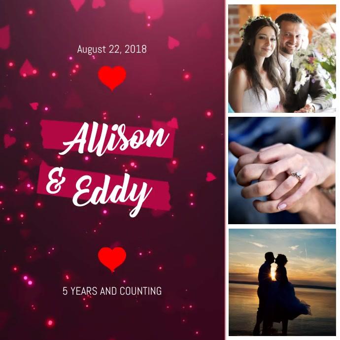 Heart Themed Romantic Anniversary video Square (1:1) template