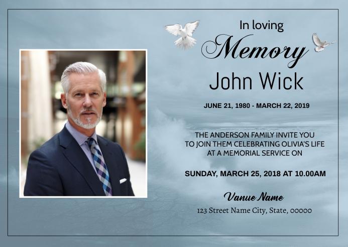 Heaven Dove Funeral Announcement Card A6 template