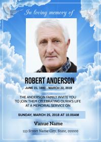 Heaven Funeral Announcement Card A6 template