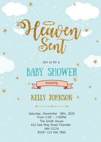 Heaven sent baby shower invitation A6 template