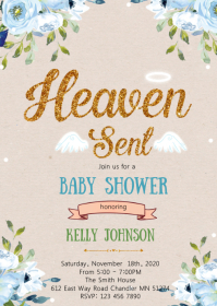 Heaven sent baby shower invitation