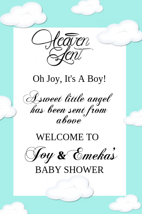 photo relating to Welcome Sign Template titled Heaven Delivered Boy or girl Shower Welcome Indicator Template PosterMyWall