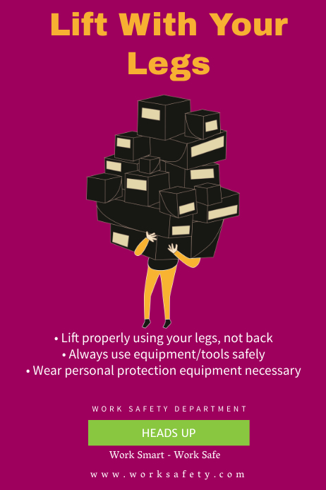 Heavy Lifting Work Safety Poster Template