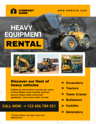 heavy vehicles and equipment rental flyer adv template