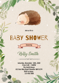 hedgehod theme invitation A6 template