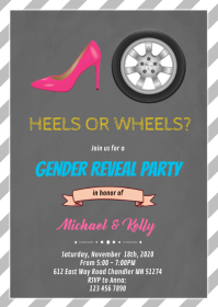 Heels or wheels gender reveal card