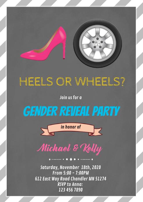 Heels or wheels gender reveal card
