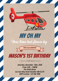 Helicopter airplane theme party invitation A6 template