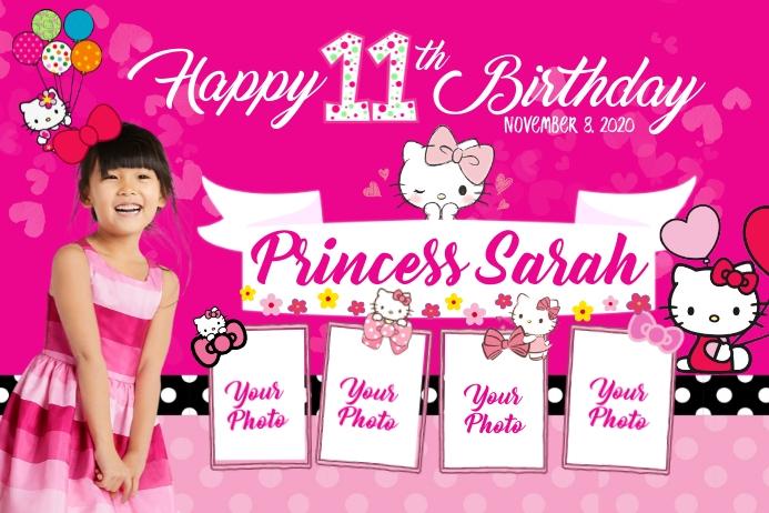 Hello Kitty Birthday Cartel de 4 × 6 pulg. template