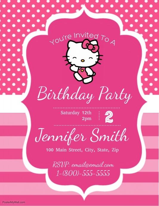 Hello Kitty Birthday Party Customize Template