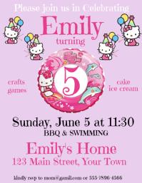 Hello Kitty Happy Birthday Invitation