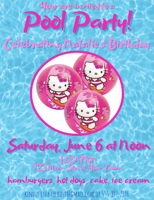 Hello Kitty Pool Party Template