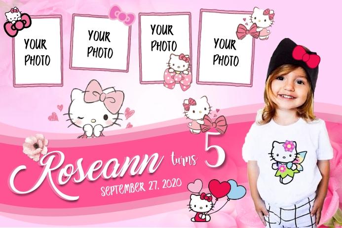 Hello Kitty Theme Spanduk 4' × 6' template