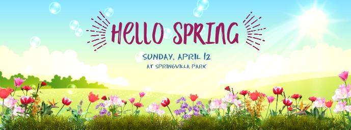 Hello Spring รูปภาพหน้าปก Facebook template