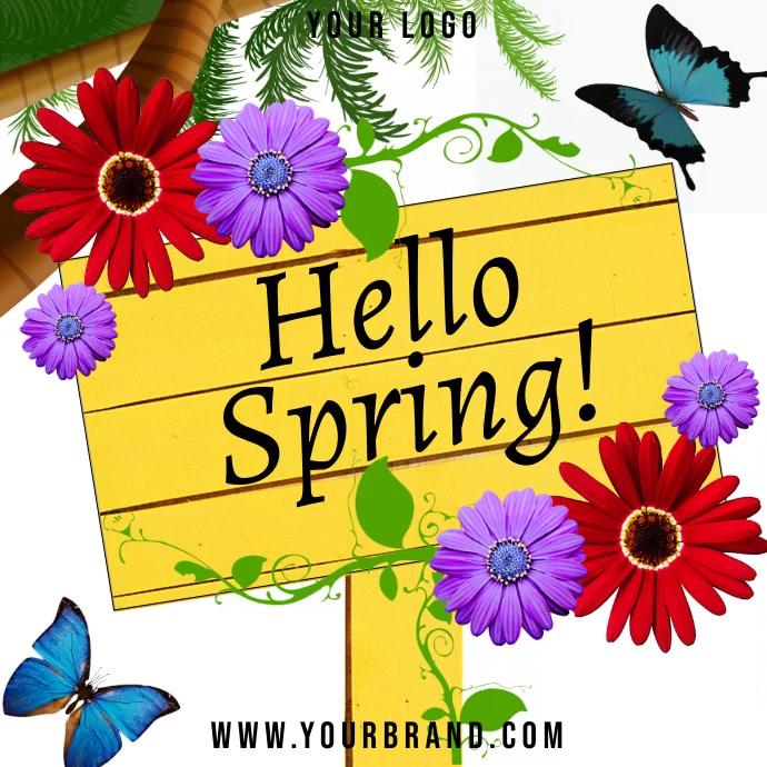 Hello spring instagram post template