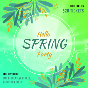 Hello Spring Party Green Invitation Ad