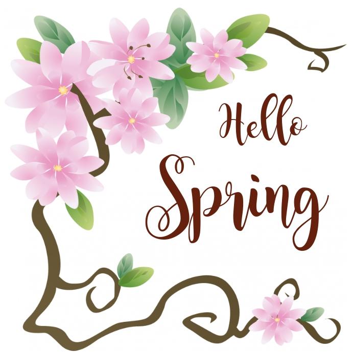 Hello Spring social network flyer Instagram Post template