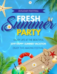 Hello summer,pool party,Beach party Flyer (format US Letter) template