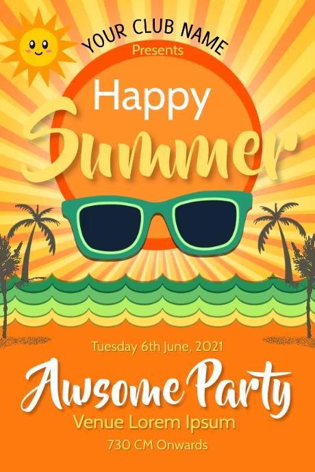 hello summer,summer vibes Póster template