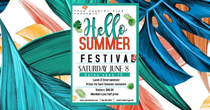 Hello Summer Festival FACEBOOK AD delt Facebook-billede template