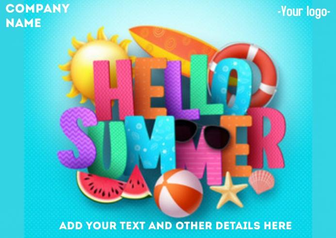 Hello Summer Flyer Kartu Pos template