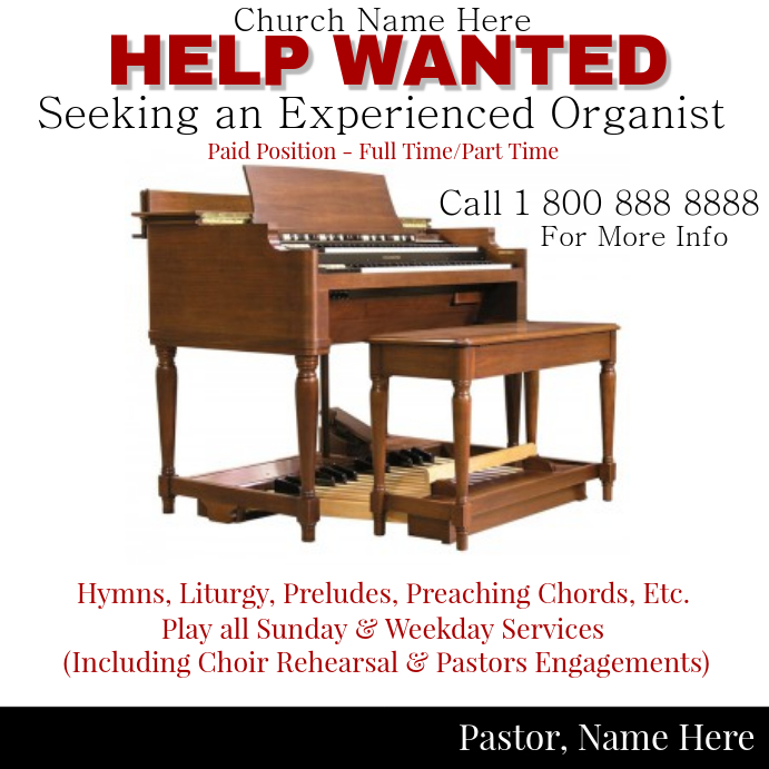 Help Wanted - Organist Template | PosterMyWall