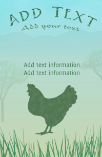 hen - chicken on grass with distant hills -poultry tabloid farming template