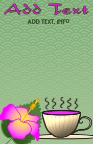 herbal hibiscus - hot tea cup in pink and green - template