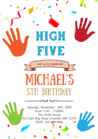 High five birthday party invitation