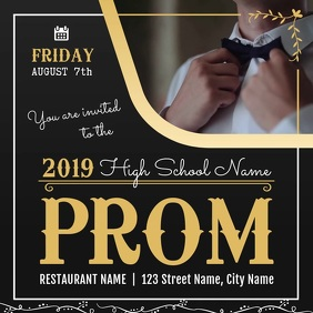 High School Prom Night Invitation Video Square (1:1) template