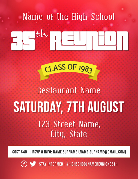 High school Reunion Event Flyer Template