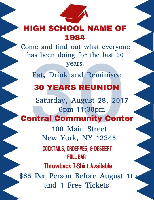High School Reunion Flyer Pamflet (Letter AS) template