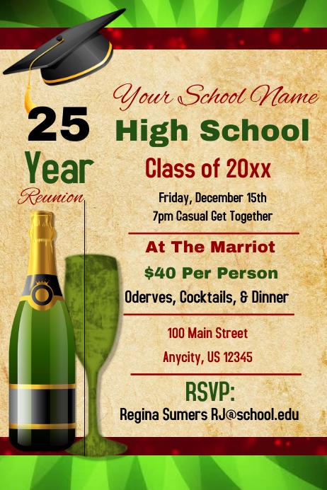 High school reunion Poster template