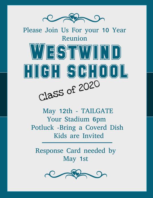 high school reunion flyer template postermywall