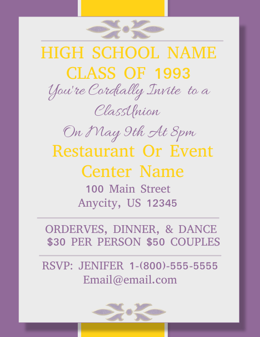 High School Reunion Flyer Pamflet (Letter AS) template