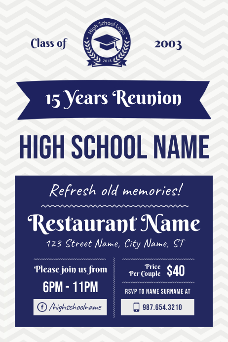 High school Reunion Poster Template Плакат